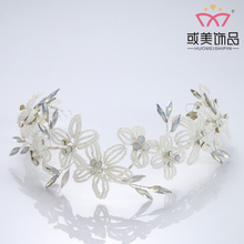 Pearl Flower Tiara Crown Headband Princess Wedding Crystal Bride Crown