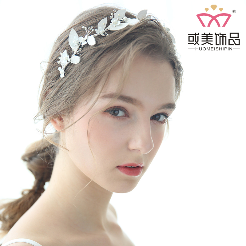 Leather Leaf Crystal Bridal Hair Jewelry Accessories Bridal Pearl Flower Headpiece