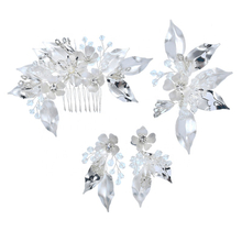 Unique Design Flower Fancy Decorative Bridal Hair Comb Earring Set