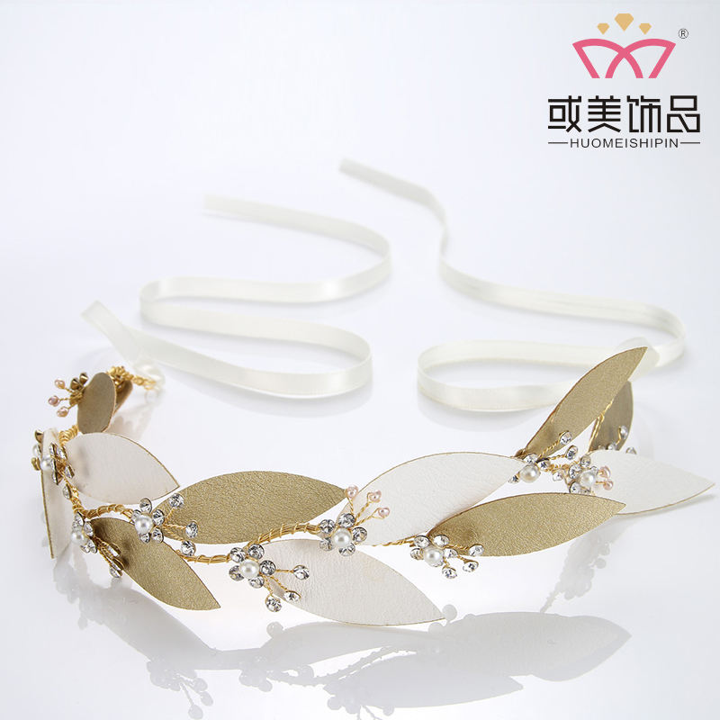 Leather Leaves Hair Accessories Bridal Headband Crystal Rhinestone Headpiece