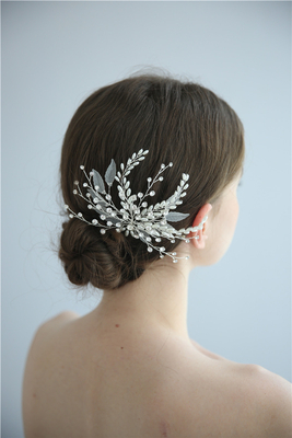 Fancy Plastic Leaf Flower Crystal Pearls Women Bride Hair Pins