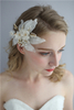 White Silk Leaf Flower Hair Accessories Bridal Crystal Wedding Pearl Women Barrette Hair Clips