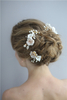 White Ceramic Flowers Wedding Hair Jewelry Accessories Bridal Gold Leaf Flower Hairband