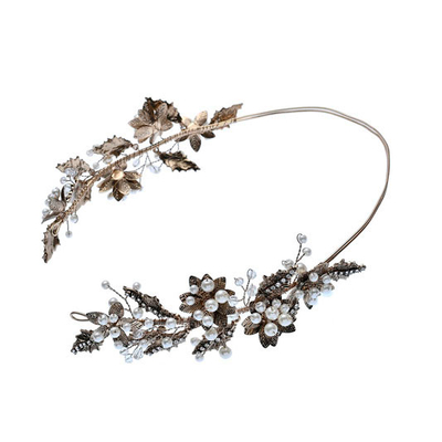 High Quality Fashion Elegant Vintage Flower Gold Leaves Hairband Earring Set