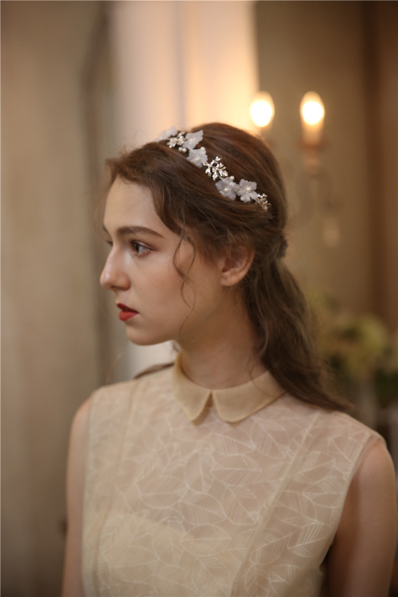 White Flower Bride Diadem Headpiece Wedding Accessories Bridal Hair Jewelry
