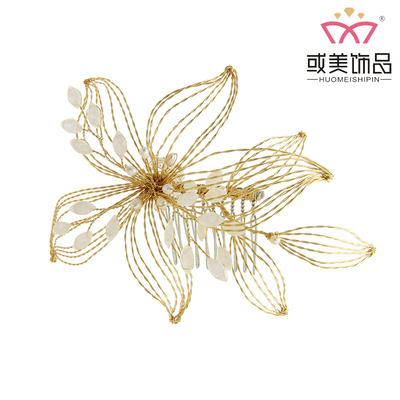 Handmade Golden Copper Wire Hair Jewelry Headdress Bridal Wedding Crystal Pearl Hair Combs For Women