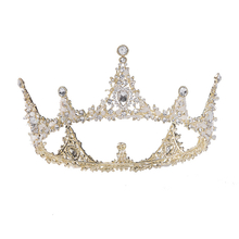 Tiara Princess Diadem Wedding Full Crown Round Wedding Crown