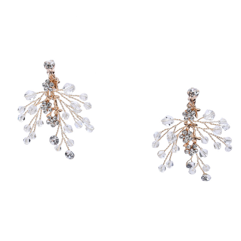 Diamond Dangler Earrings Bridal Wedding Jewelry Rhinestone Bridal Earrings For Women