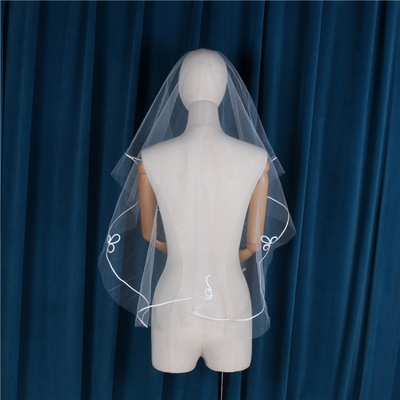 Wedding Hen Party One Layer Wedding Lace Edge Short Bridal Veils