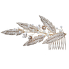 Alloy Leaf Flower Crystal Jewelry Pearl Rhinestone Bride Hair Comb
