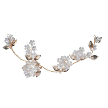 Gold Leaf Headbands Hair Ornaments Earring Bridal Crystal Flower Jewelry Set