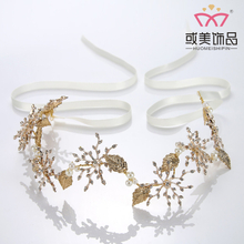 Women Gold Leaf Pearl High Quality Headpiece Bridal Handmade Headwear