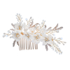 Hair Comb Earring Ceramics Crystal Flower Women Hair Ornament Handmade Bridal Prom Accessories