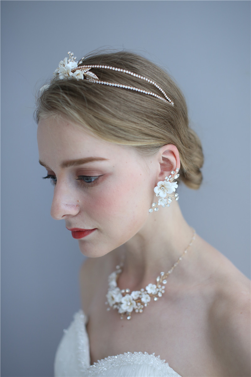 Flower Bridal Accessories Crowns Handmade Fancy Crystal Women Necklace Earring Set