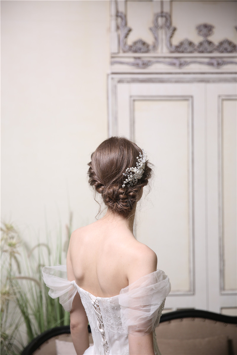 Silver Alloy Leaf Flower Wedding Accessories Jewelry Hair Comb