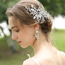 Handmade Fancy Silver Bridal Hair Jewelry Accessories Metal Crystal Leaf Hairgrip Hair Clips For Girl
