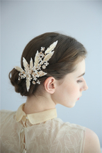 Fancy Wedding Barrettes Hair Accessories Handmade Gold Leaves Pearl Tiara Hair Clip