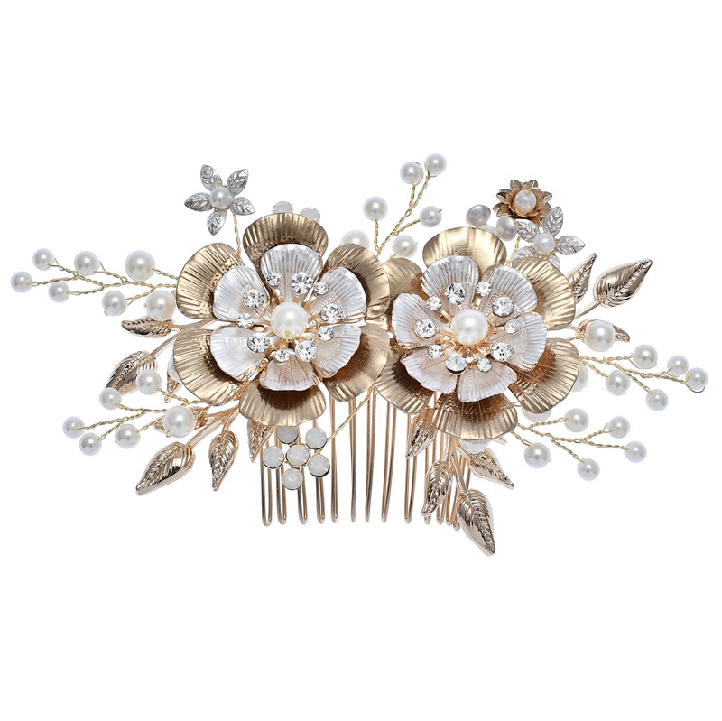 Gold Crystals Flower Wedding Hair Accessories Bridal Pearl Hair Combs