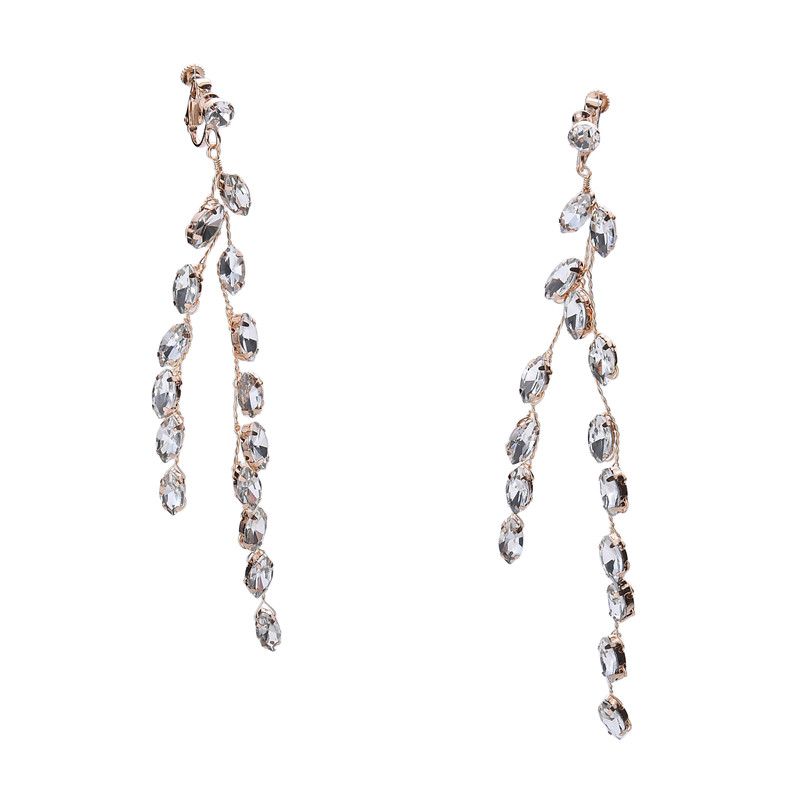 Trending Hot Products Rhinestone Leaf Earrings Bridal Fashion Earring Silver Jewelry