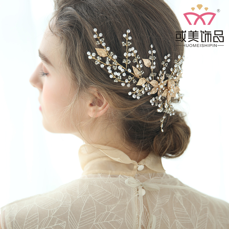 Handmade Crystal Bridal Hair Accessories Jewelry Headwear Barrettes Gold Leaves Wedding Pearl Headband Hair Clips For Girl