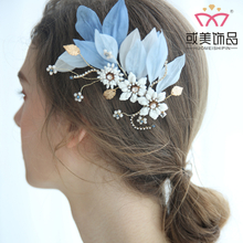 Bridal Blue Silk Cotton Gold Leaf Wedding Bridal Fancy Hair Clip