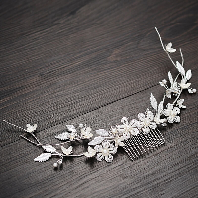Handmade Pearl Leaves Flower Bun Up Headdress Wedding Party Prom Side Hair Combs