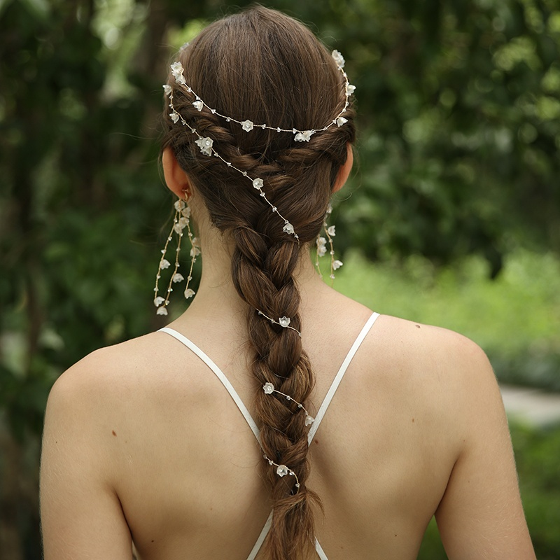 Handmade Long Hair Band Crystal Bridal Headband 4 D2386