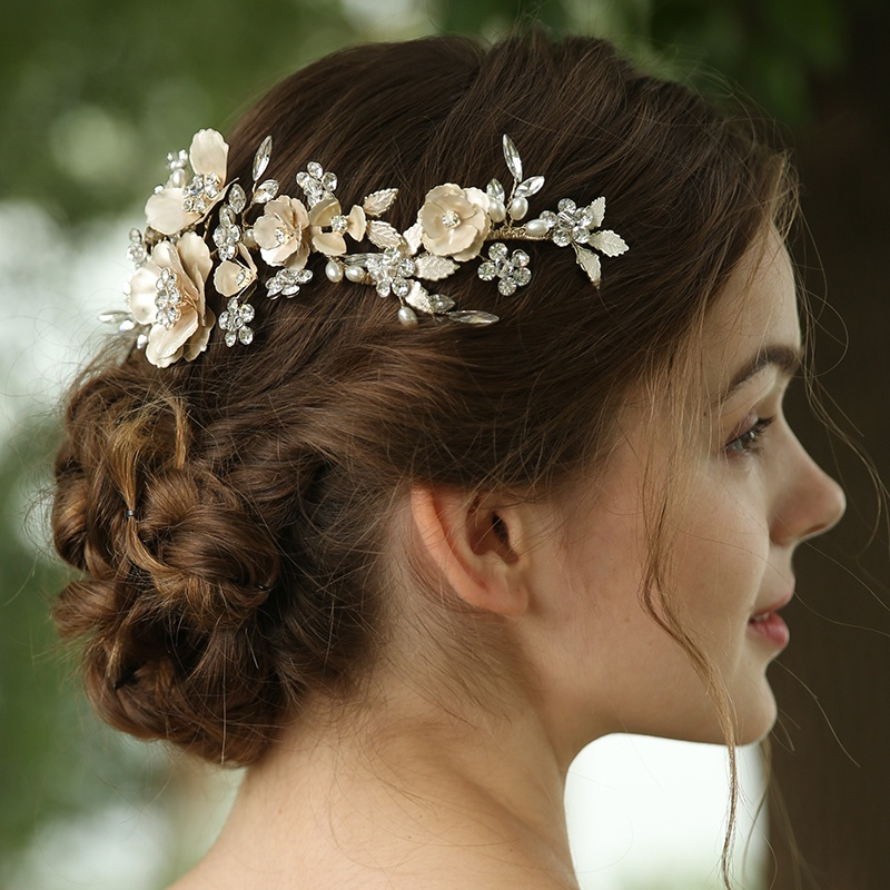 Fancy Light Gold Pearl Flowers Crystal Wedding Hair Combs