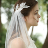 White Dense Gauze Shiny Leaf Bead Wedding Bridal Veils