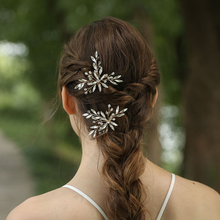 Elegant Wedding Bridal Leaf Design Headpiece Crystal Rhinestone Hair Pin
