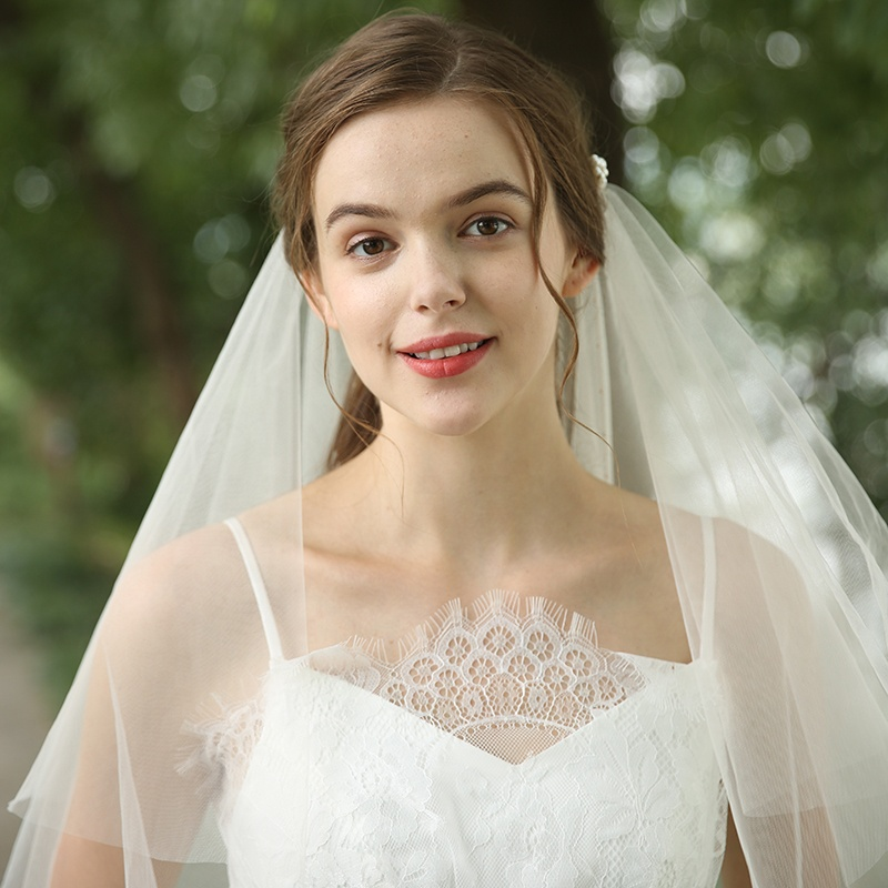 Modern Unique Chain Decorated Ivory Pearl Soft Tulle Wedding Bridal Veil