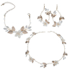 Rhinestone Floral Leaves Tiara Bracelets Earrings Gold Jewelry Sets For Wedding