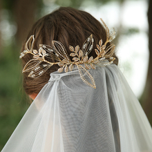 Handmade Rhinestone Crystal Flower Leaves Hair Combs For Wedding Bride