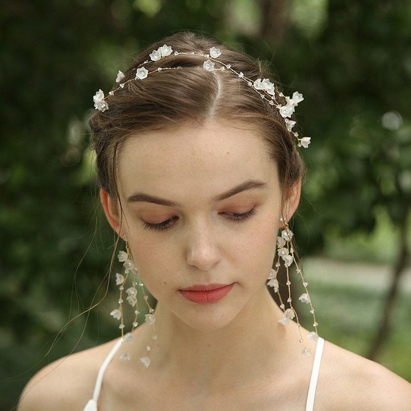 Handmade Long Hair Floral Vine Bridal Decorative Head Chain