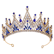 Wholesale Blue Crystal Party Pageant Hair Jewelry Accessories Rhinestone Prom Crowns Tiaras
