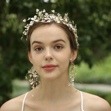 Handmade Gold Blossom Flowers Copper Headband And Earrings Jewelry Set For Bride