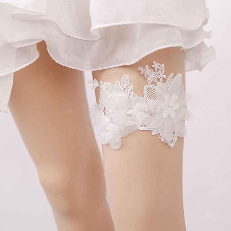 Fashion Women White Lace Pearl Floral Garter For Wedding Bride