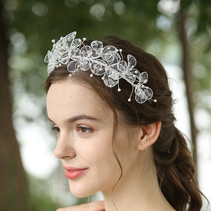 2020 Handmade Sweet White Flowers Pearl Bridal Accessories Tiara Headpiece For Bride