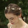 2020 Pure Wedding Pearl Hair Bands Hair Vine Flower Rhinestone Earrings Jewelry Set For Bride