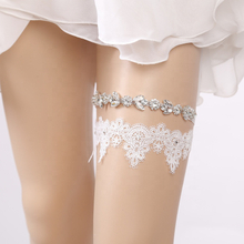 Bridal Crystal 2 Pieces Wedding Garter Set White Lace Embroidered Flowers Garters