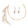 Handmade Bride Freshwater Pearl Beads Drop Earrings Gold Leaves Rhinestone Crowns Tiaras