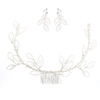 Custom Elegant Bridal Headdress Handmade Hollow Leaves Imitation Pearl Wedding Women Hair Combs Hair Jewelry Earring Set