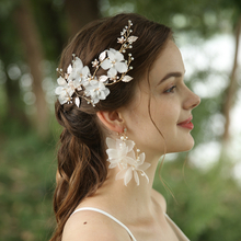 White Gauze Flowers Headpiece Earrings Wedding Bridal Jewelry Set