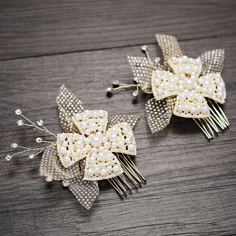 Handmade Mesh Cloth Flower Pearls Bridal Hair Comb Set