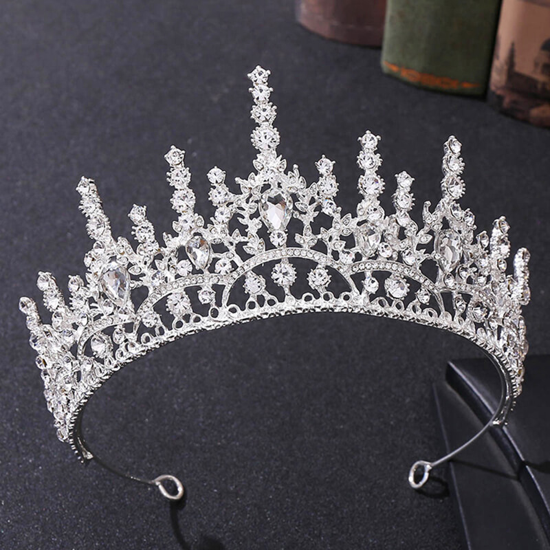 Custom Stylish Princess Alloy Crystal Bride Wedding Crown Prom Pageant Tiaras