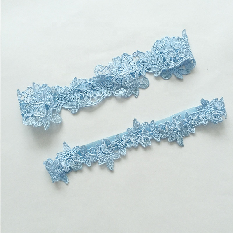 Simple Wedding Lingerie Sexy Blue Bride Garter White Lace Garter Belt For Woman