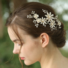 Handmade Light Gold Copper Pearl Flowers Fascinator Hair Clip