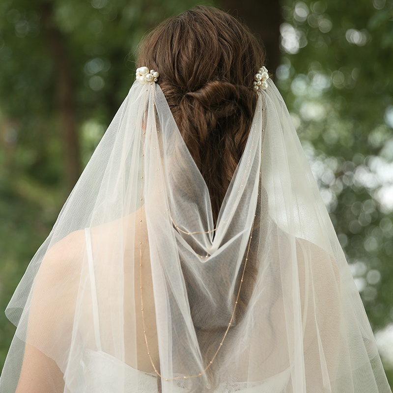 Champagne Colored Pearl Soft Tulle Wedding Bridal Veil L723 (3)
